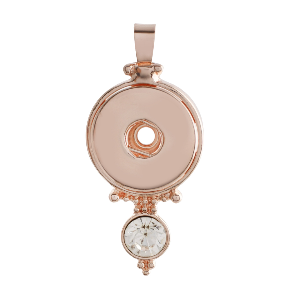 Snap Jewelry Pendant Rose Gold-Tone With Clear Rhinestone Drop