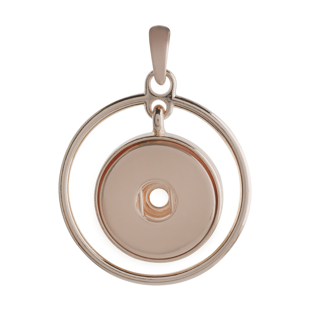 Snap Jewelry Pendant - Rose Gold-Tone Swinging Halo