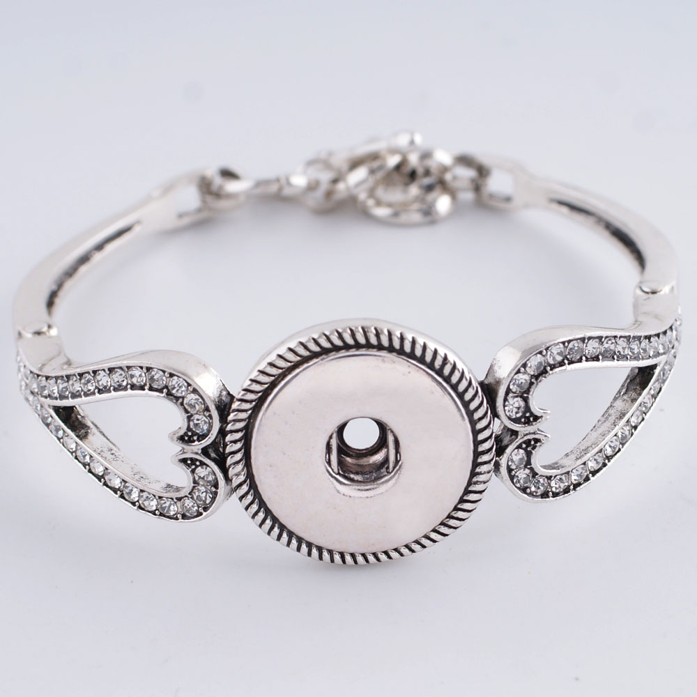Snap Jewelry Toggle Bracelet Double Heart