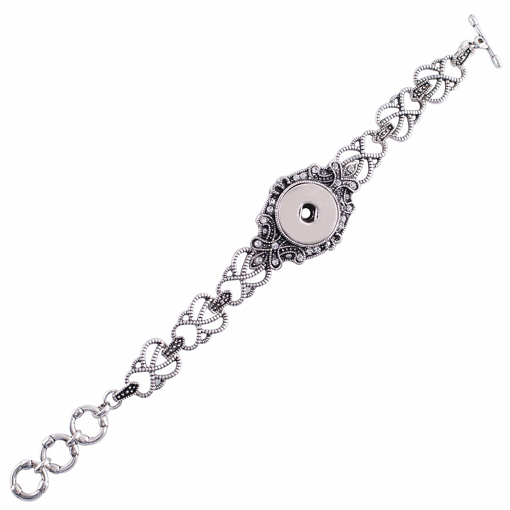 Snap Jewelry Toggle Bracelet Chain Antique Marcasite