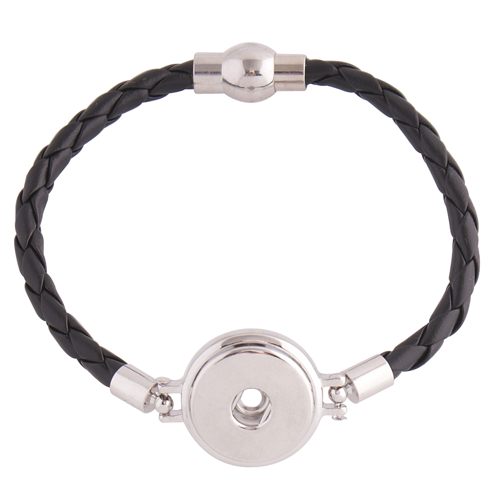 Snap Jewelry Bracelet Magnetic - Black Leather Holds 20mm Snaps
