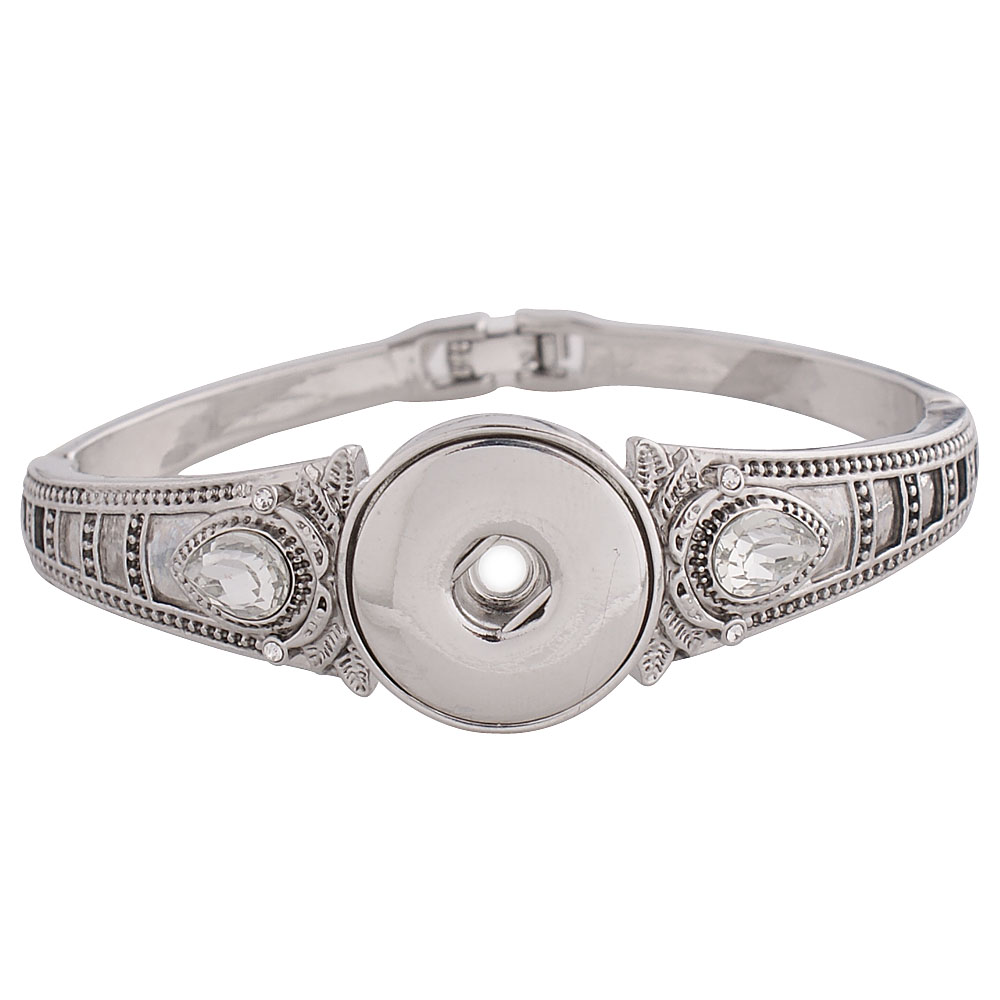 Snap Jewelry Hinge Bangle - Rhinestone Antique Teardrop Clear