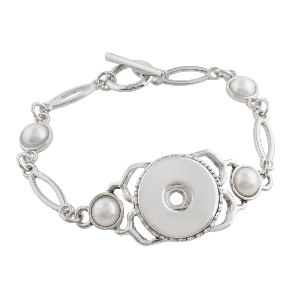 Snap Jewelry Pearl Toggle Bracelet