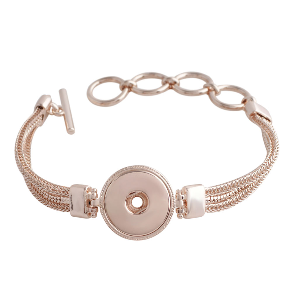 Snap Jewelry Toggle Bracelet Chain Strands - Single in Rose Gold