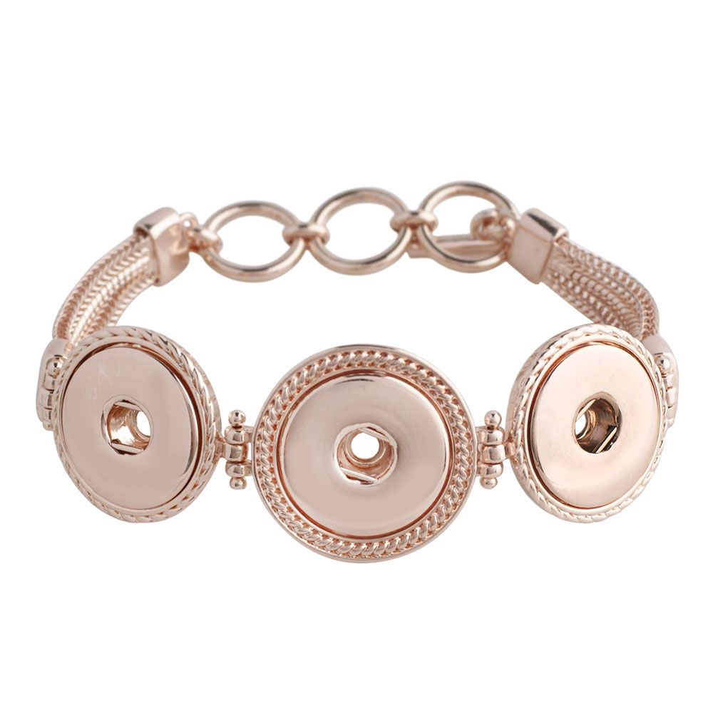 Snap Jewelry Toggle Bracelet Chain Strands - Triple in Rose Gold