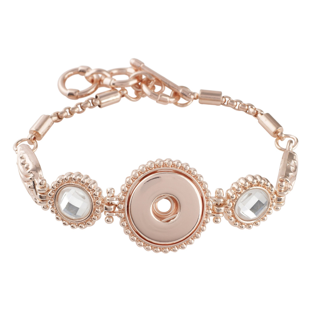 Snap Jewelry Toggle Faceted Rhinestone Bracelet Rose Gold Tone