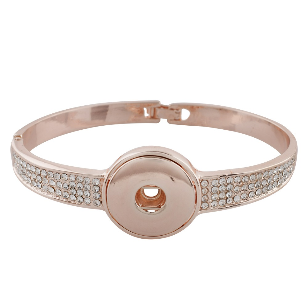 Snap Jewelry Snap Lock Clasp Bangle - Rose Gold-Tone Rhinestones