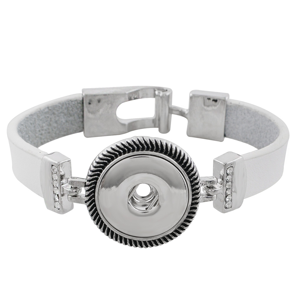 Snap Jewelry Bracelet Leather Buckle - White Band Clear Stones