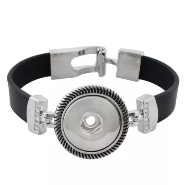 Snap Jewelry Bracelet Leather Buckle - Black Band Clear Stones