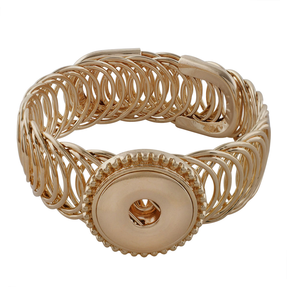Snap Jewelry Bracelet Wrap Expandable Cuff Gold
