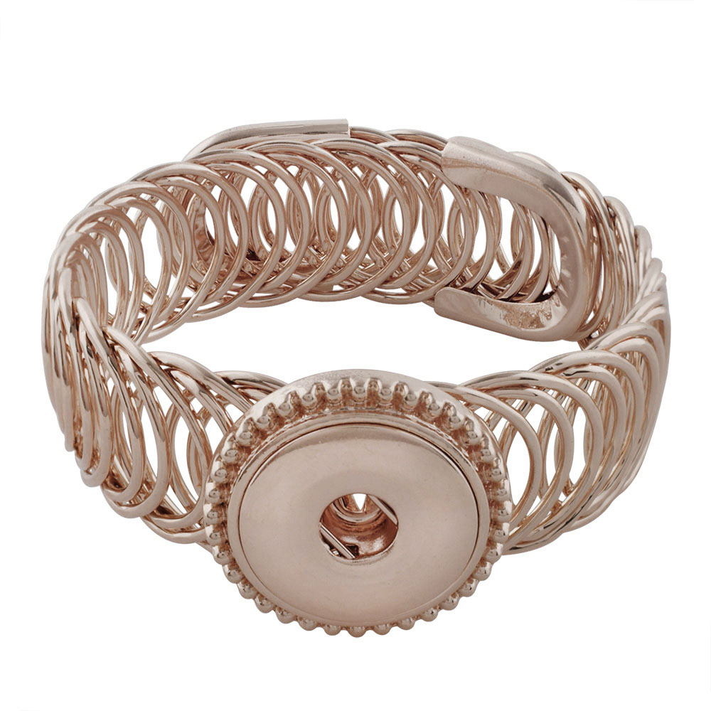 Snap Jewelry Bracelet Wrap Expandable Cuff Rose Gold