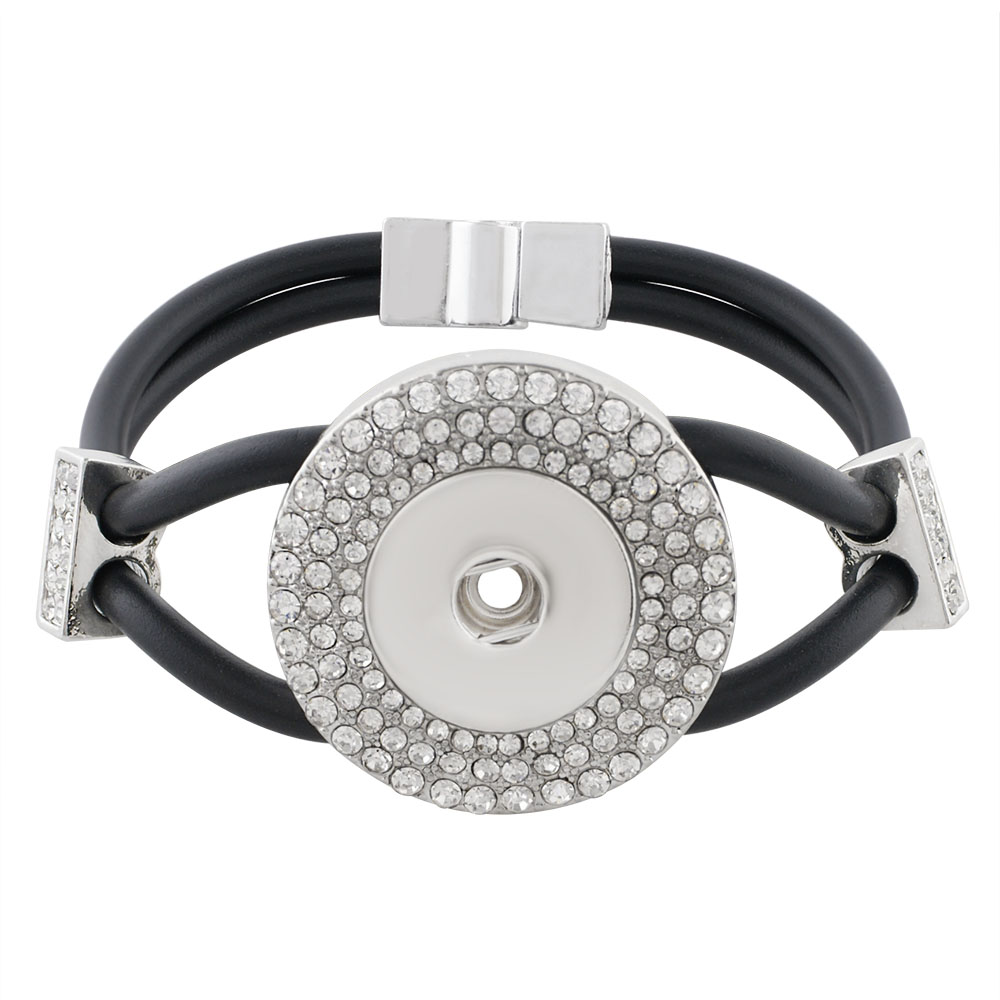 Snap Jewelry Bracelet Leather - Rhinestone Halo Magnetic Clasp