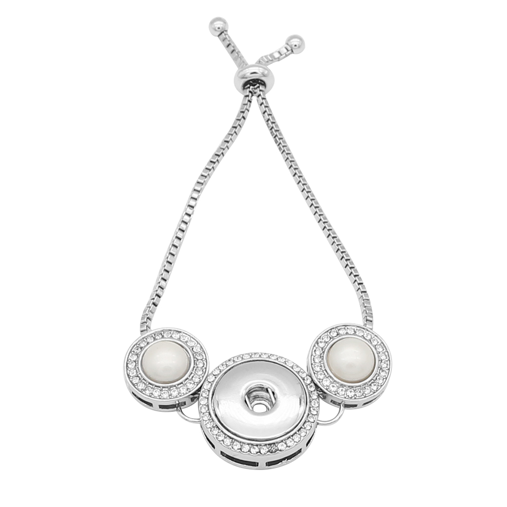 Snap Jewelry Adjustable Slider Bracelet - Pearl Halo