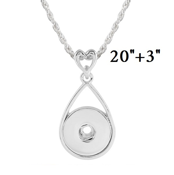 "Snap Jewelry Heart Drop Necklace Silver 18""+3"""