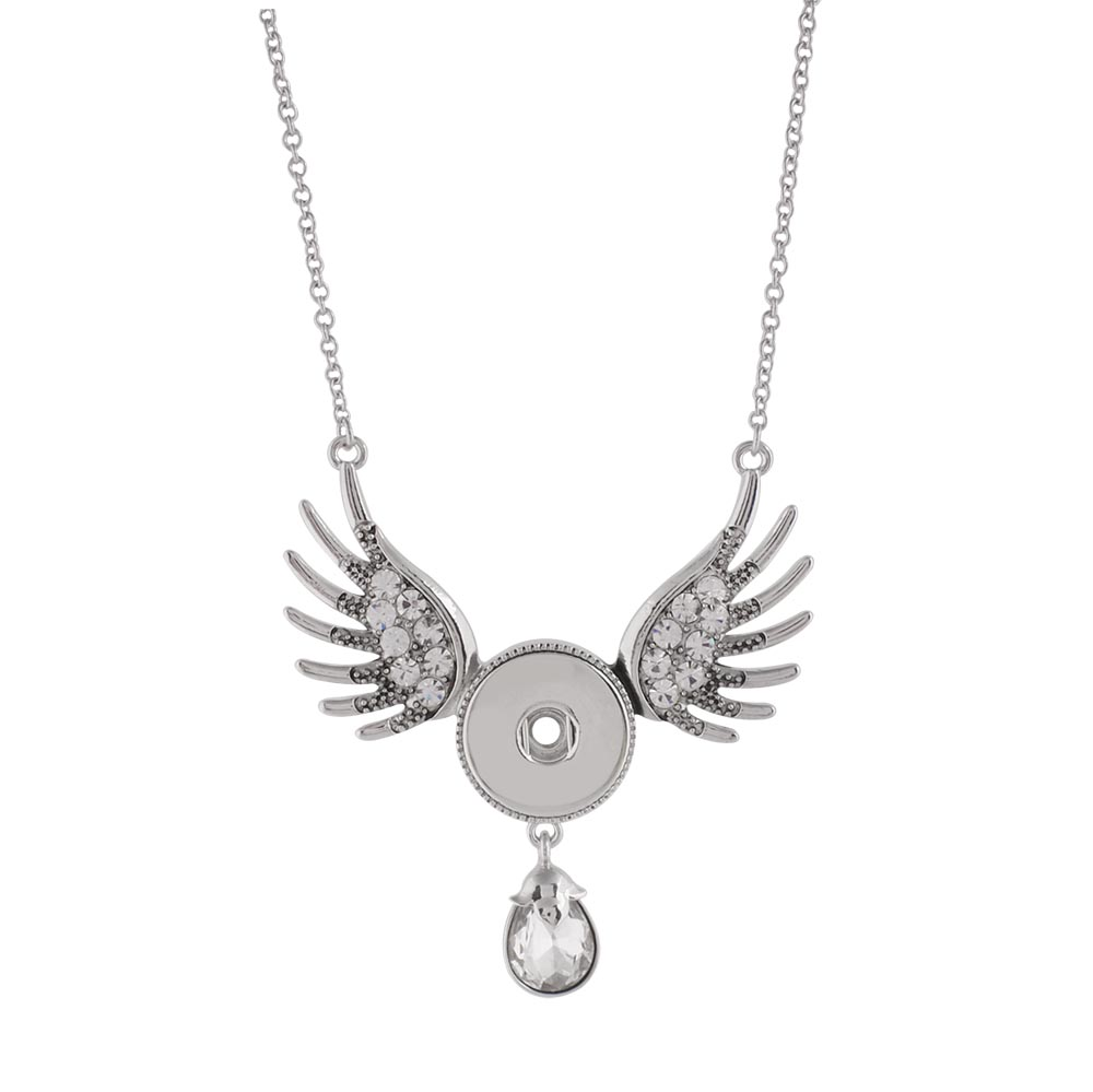 Snap Jewelry Angel Double Wings Dangle CZ Drop Necklace 30""