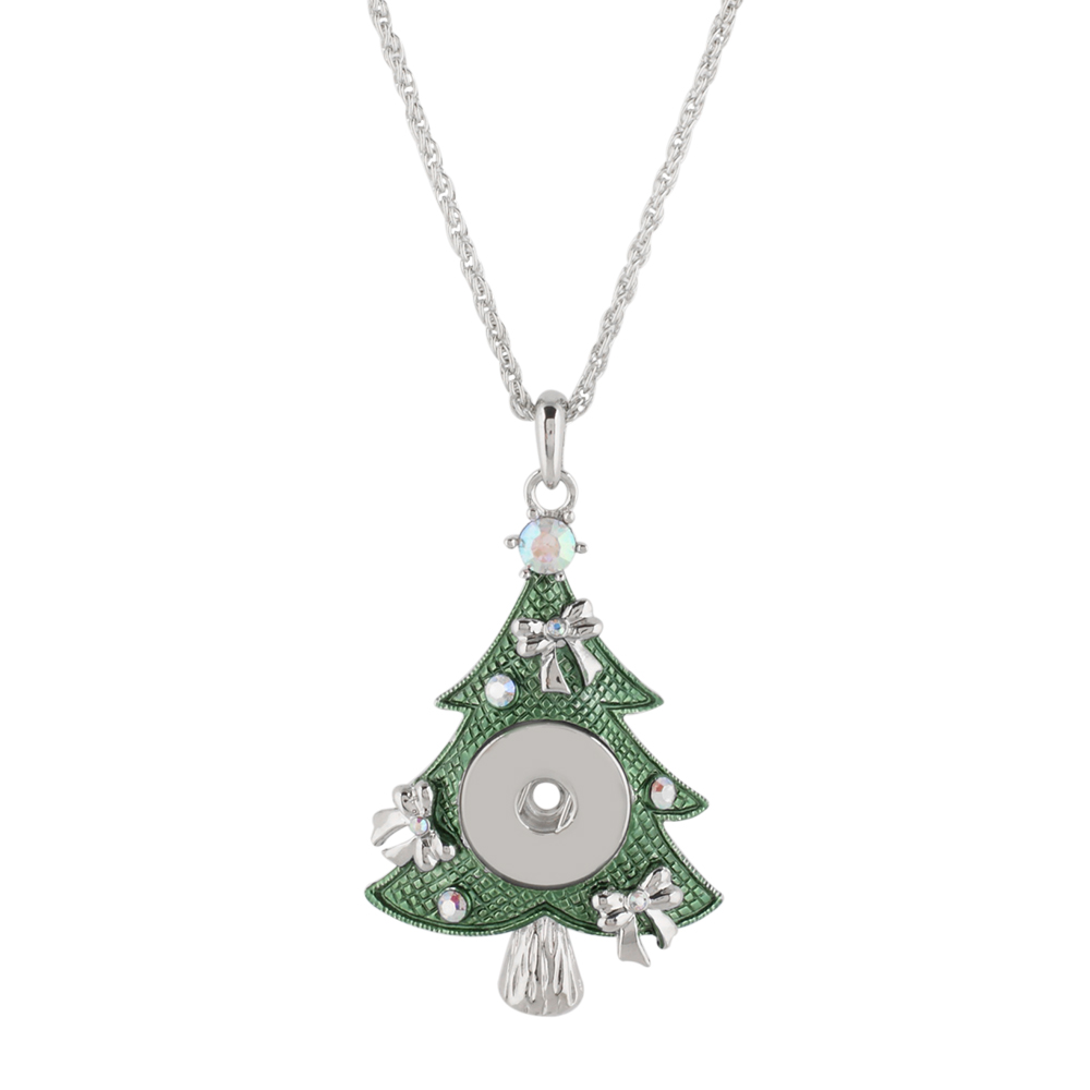Snap Jewelry Necklace & Pendant - Holiday Enamel Christmas Tree