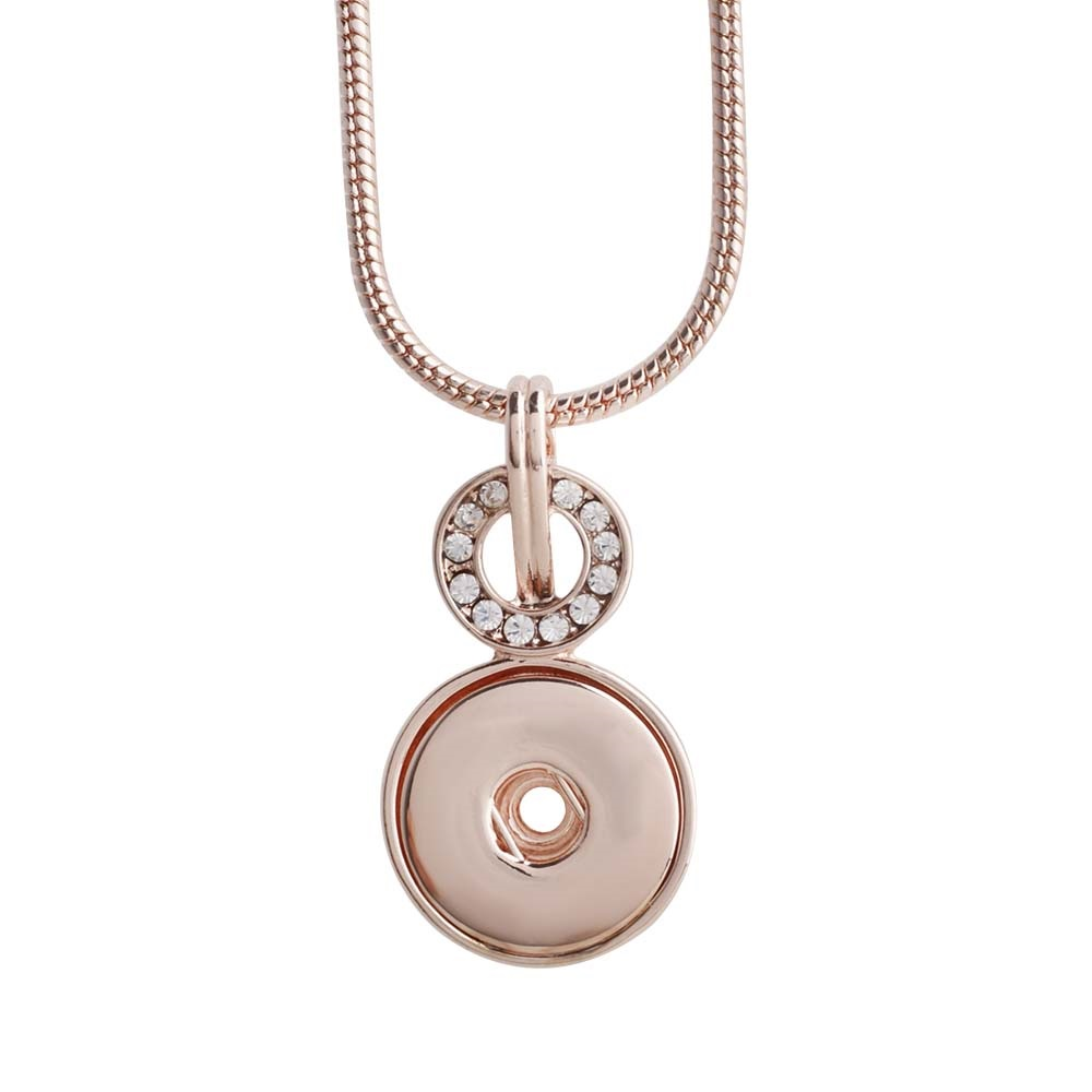 "Snap Jewelry Necklace & Pendant Clear Halo 18"" Rose Gold"
