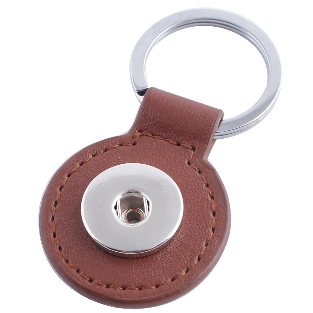 Snap Jewelry Key Chain - Round Brown Leather