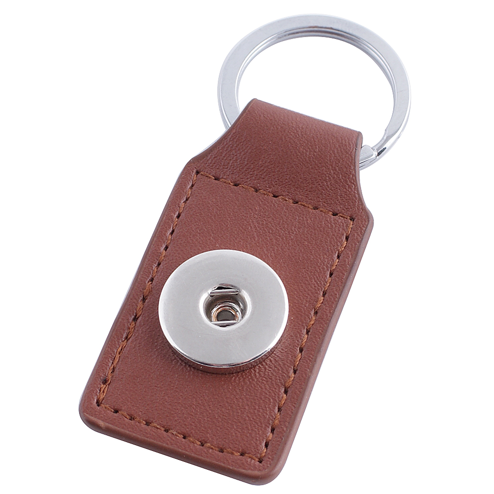 Snap Jewelry Key Chain - Brown Leather Square
