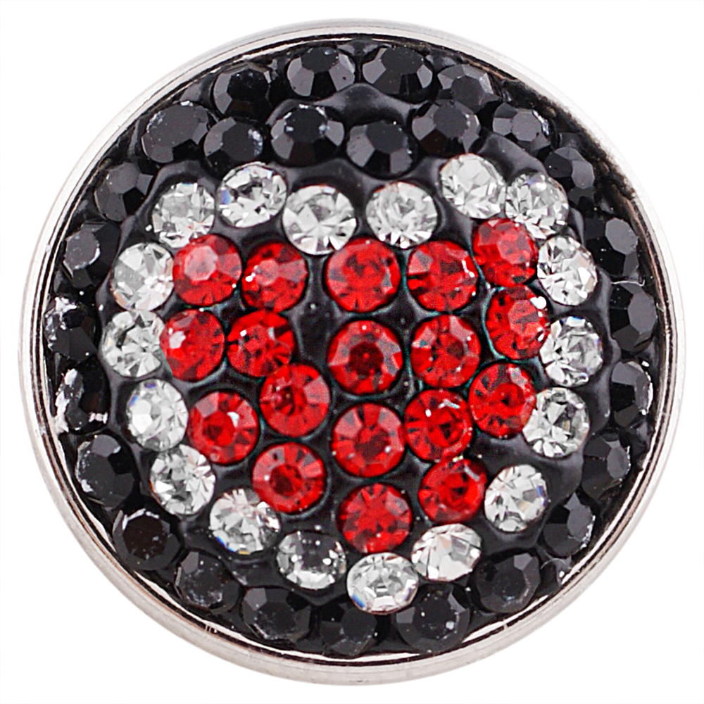 Snap Jewelry Crystal - Heart Shape Black, Red & Clear