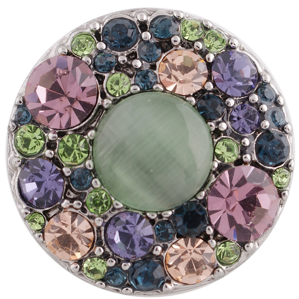 Snap Jewelry Stone - Green Stone & Multicolor Rhinestones