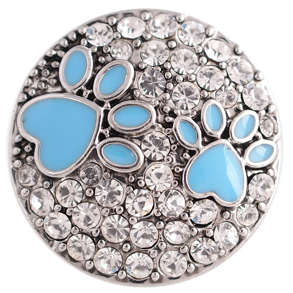 Snap Jewelry Crystal - Clear with Blue Enamel Paws