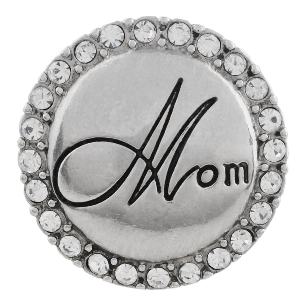 "Snap Jewelry Rhinestone - Clear Halo ""MOM"""