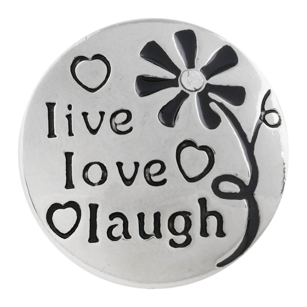"Snap Jewelry Metal - Flower ""Live Love Laugh"""