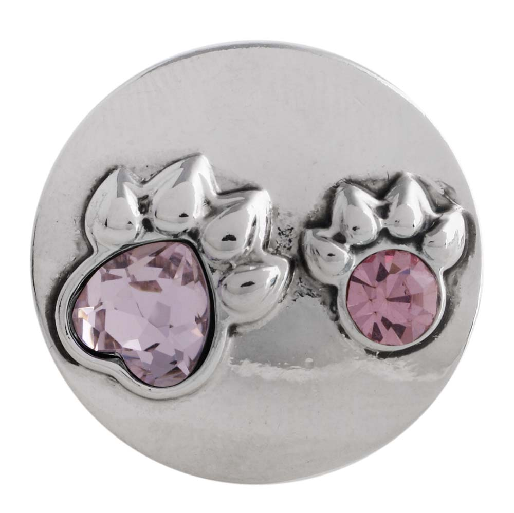 Snap Jewelry Rhinestone - Dog Paws in Light Mauve & Pink