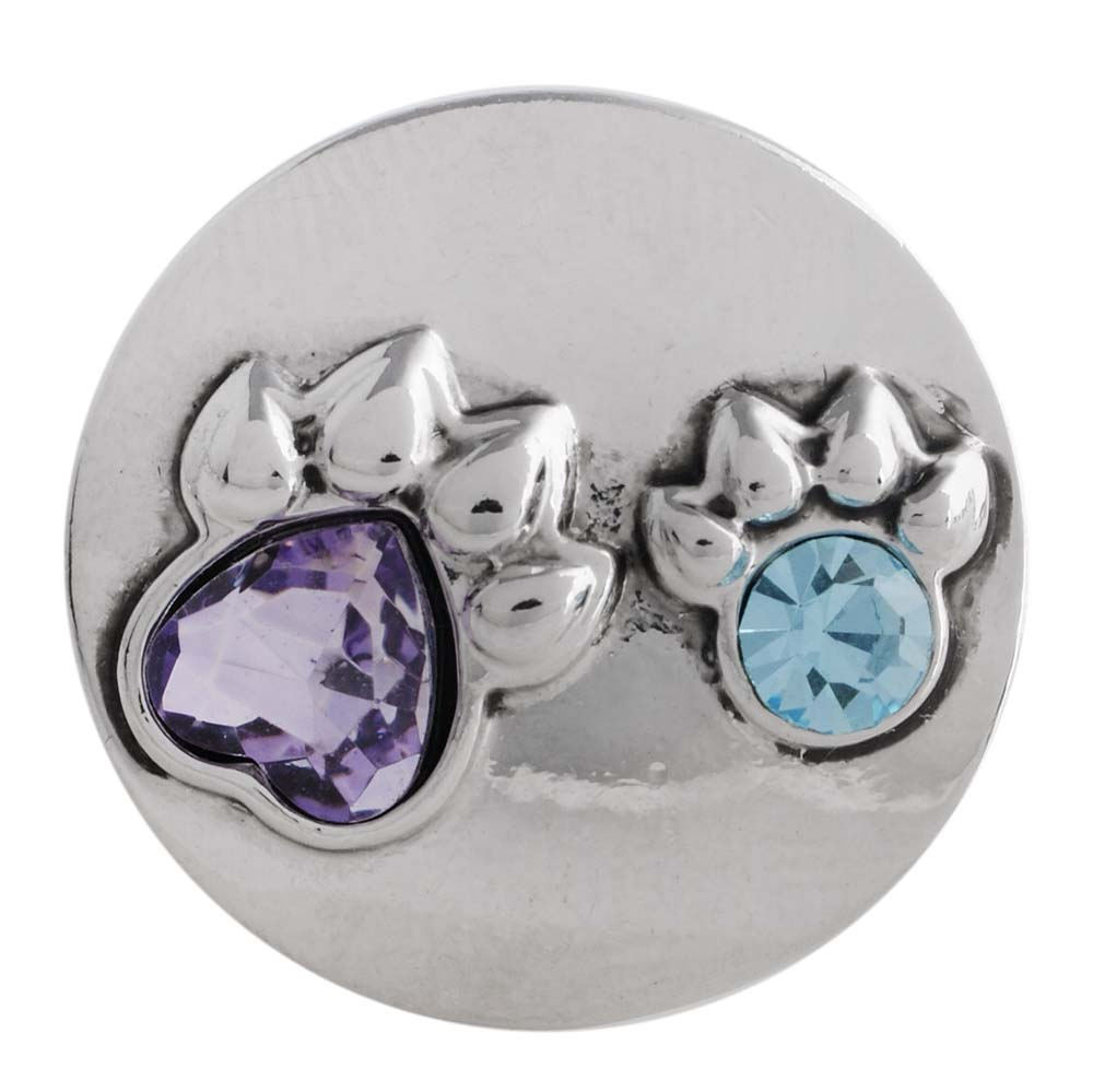 Snap Jewelry Rhinestone - Dog Paws in Light Blue & Amethyst