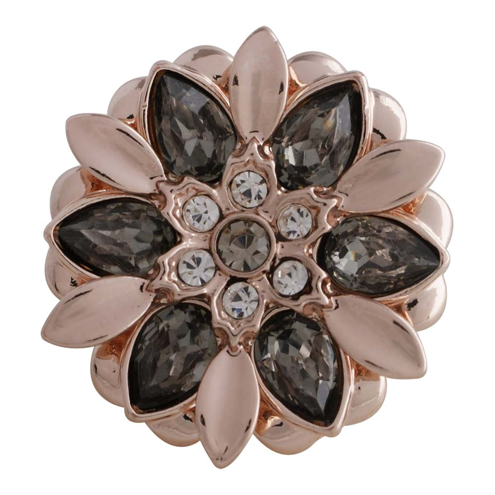 Snap Jewelry Rhinestone - Gray & Pink Flower Rose Gold Metal