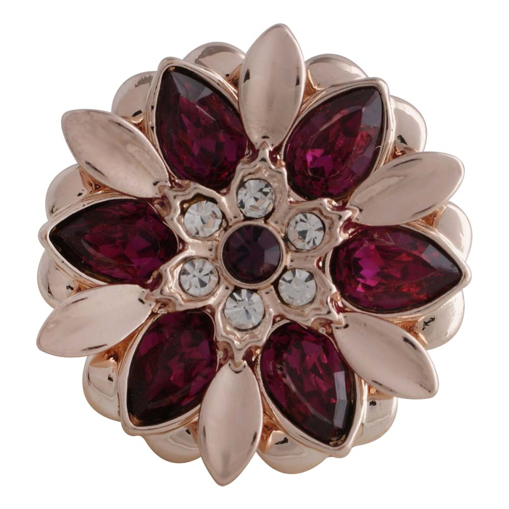 Snap Jewelry Rhinestone - Rose Gold Metal Red & Pink Flower