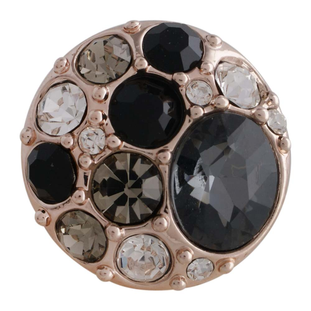 Snap Jewelry Rhinestone On Rose Gold - Cluster Clear-to-Black