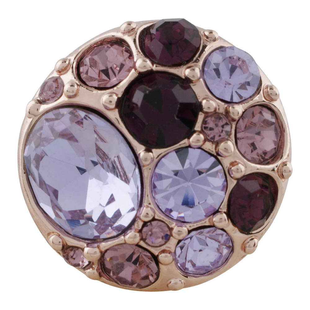 Snap Jewelry Rhinestone Cluster - Multi Purple Rose Gold