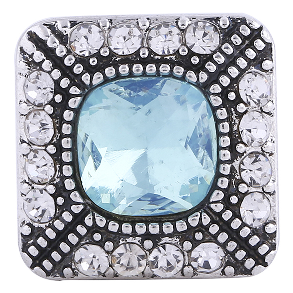 Snap Jewelry Rhinestone - Square Halo AB Blue & Clear