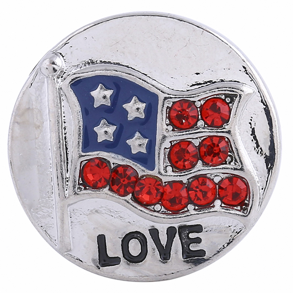 Snap Jewelry Metal - Flag USA & Love