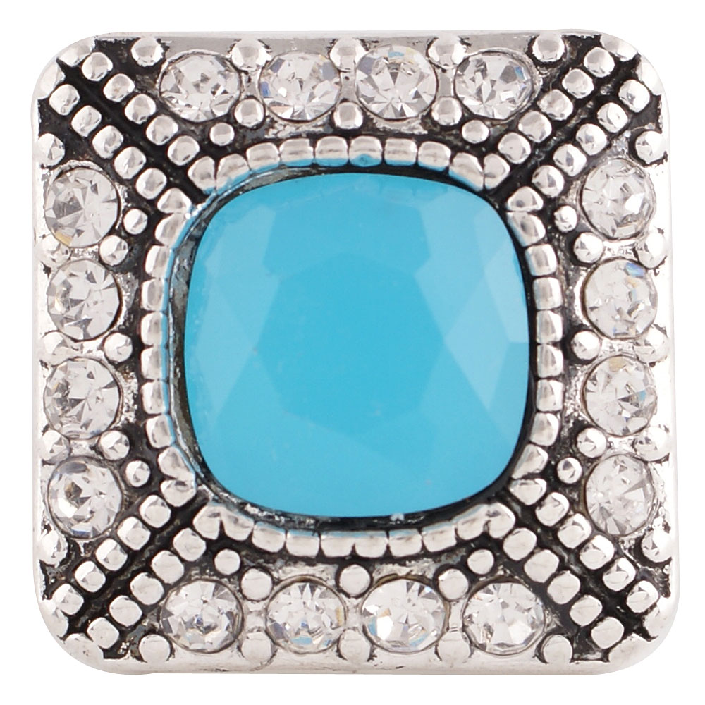 Snap Jewelry Rhinestone - Square Halo Clear & Blue Stone