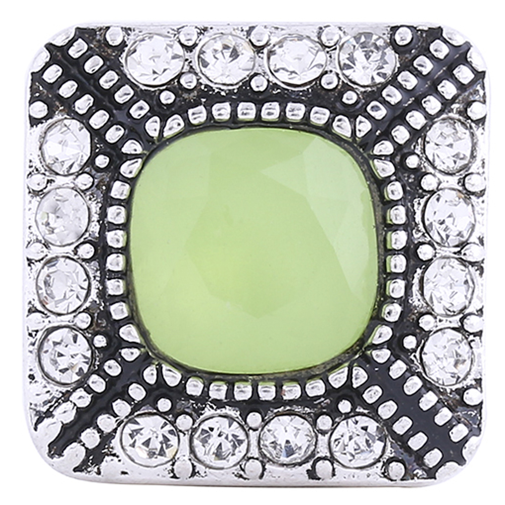 Snap Jewelry Rhinestone - Square Halo Clear & Peridot Stone