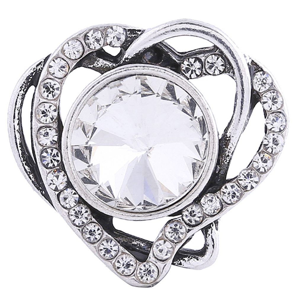 Snap Jewelry Rhinestone Heart Clear