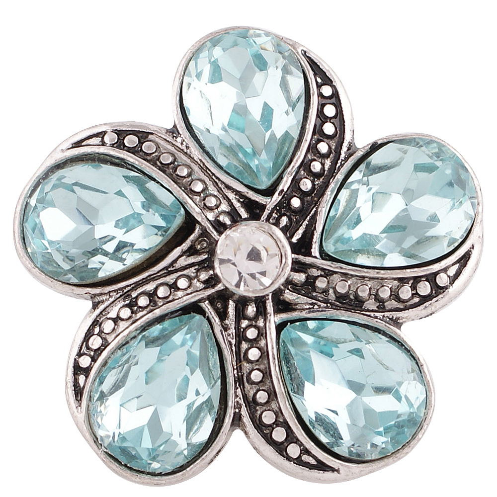 Snap Jewelry Rhinestone Flower - Light Blue