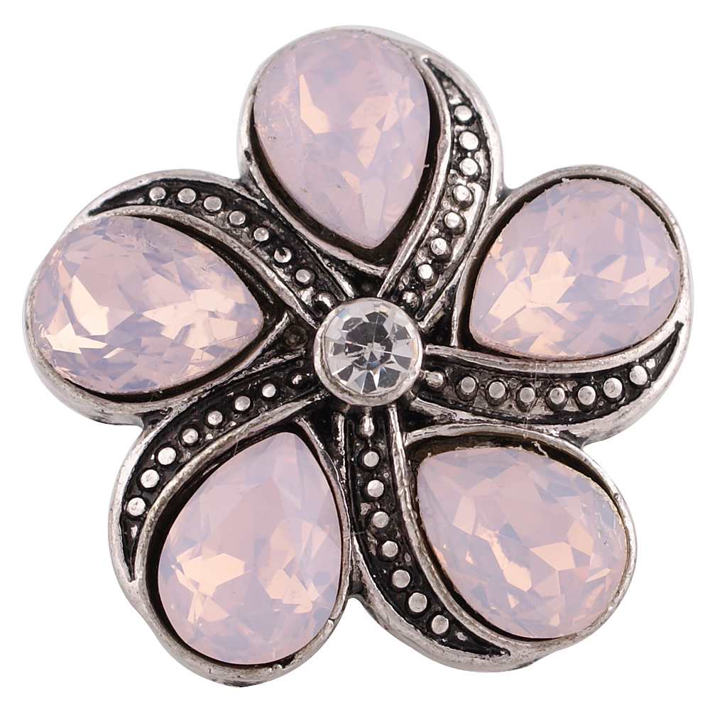 Snap Jewelry Rhinestone Flower - Light Pink