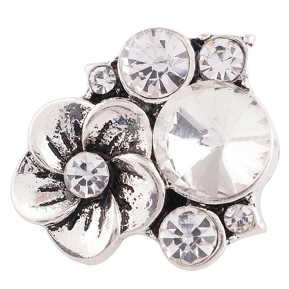 Snap Jewelry Rhinestone - Flower Cluster Clear