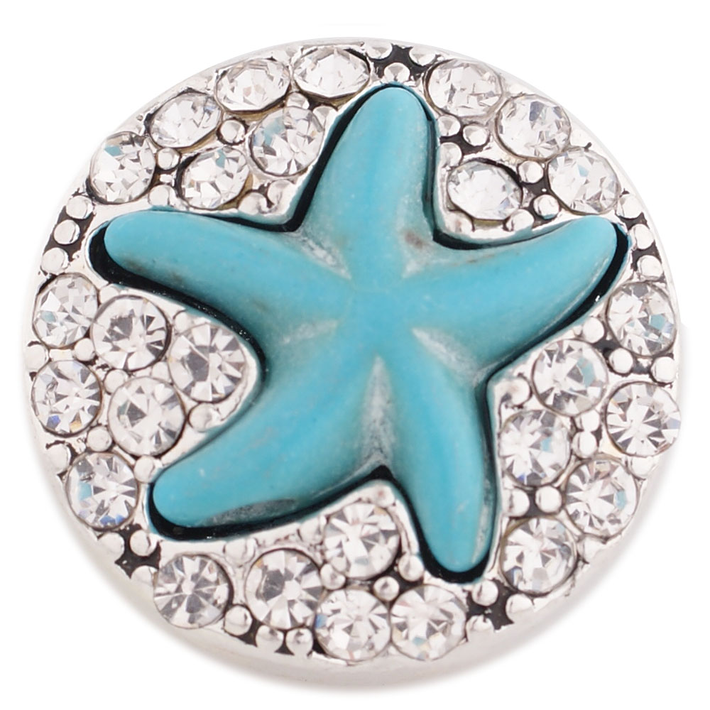 Snap Jewelry Rhinestone Starfish Light Blue & Clear