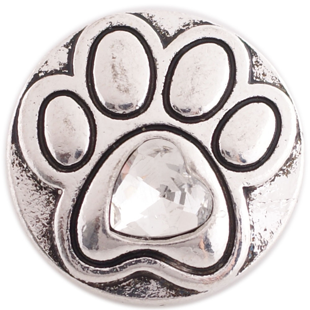 Snap Jewelry Metal - Dog Paw with Clear Heart