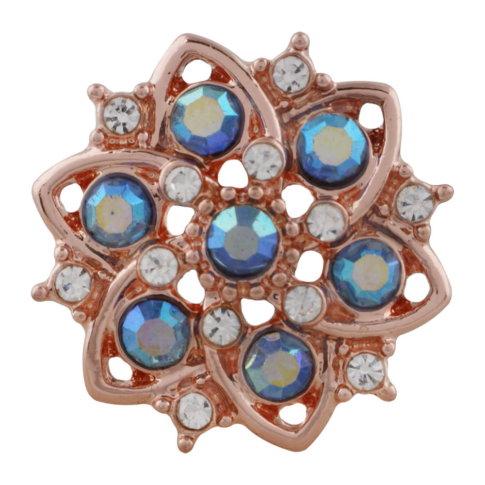 Snap Jewelry Rhinestone Flower Pendant Rose Gold Tone & AB Blue