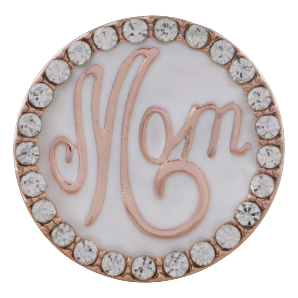 Snap Jewelry Enamel Mom Rose Tone & White