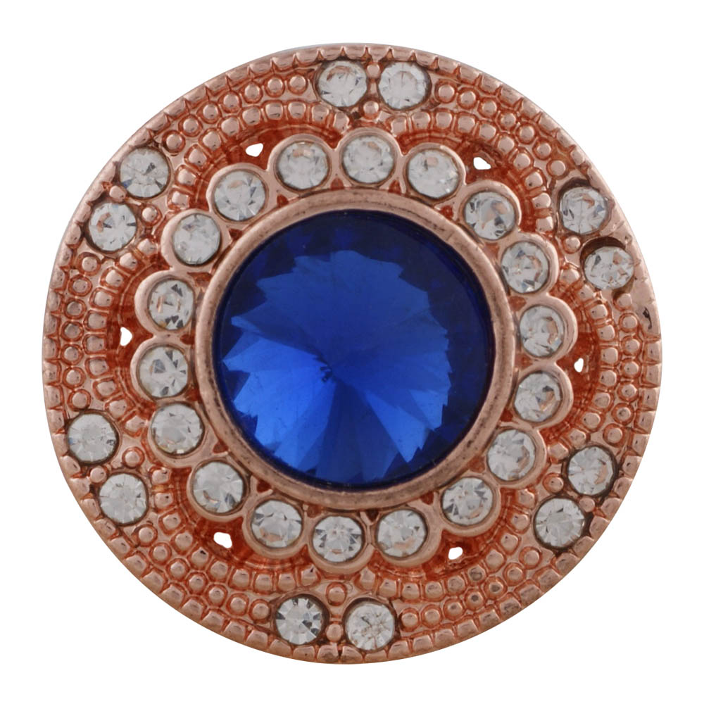 Snap Jewelry Rhinestone Faceted Halo - Dark Blue on Rose Gold