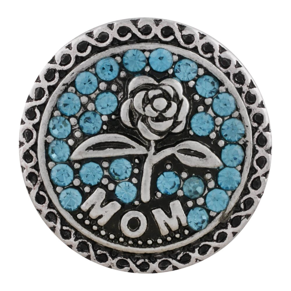 Snap Jewelry Rhinestone - MOM Rose Silver & Blue