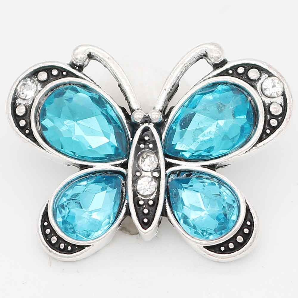 Snap Jewelry Rhinestone - Butterfly Clear & Blue Stones