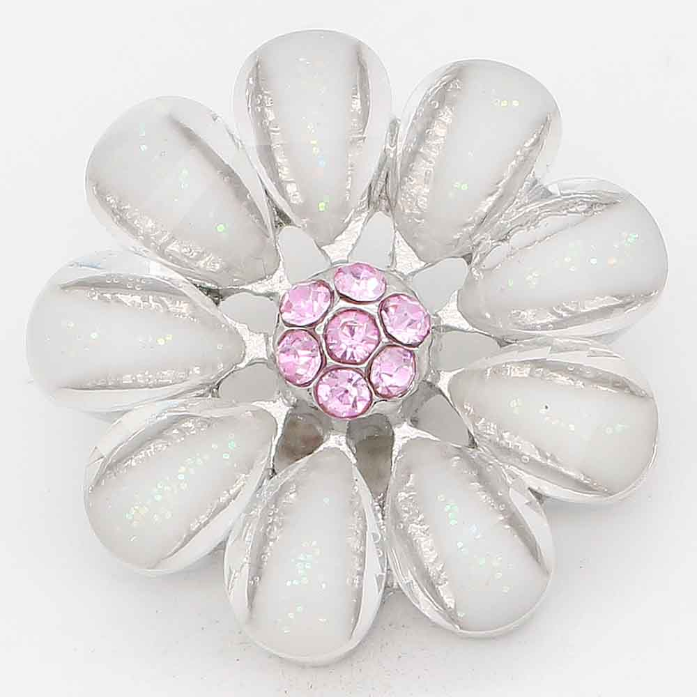 Snap Jewelry Rhinestone - Flower Opaque & Pink Center Stones